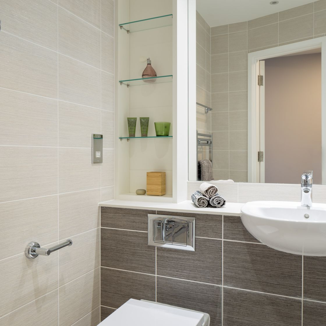 Grande Student Apartment in Liverpool. En-suite bathroom with shower. IconInc, The Ascent