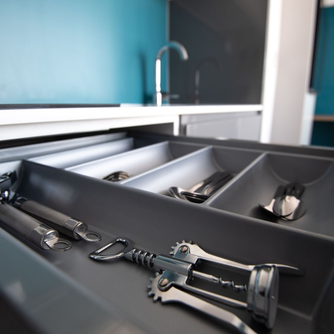 Kitchen drawer with cutlery and utensils. IconInc @ Roomzzz. Student Accommodation in Newcastle.