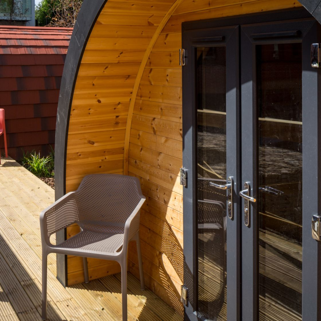 Glamping Pods with outdoor seating at IconInc, The Glassworks. Student Accommodation in Leeds