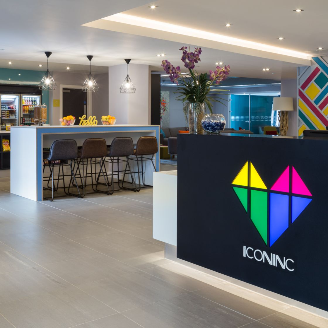 Reception and Pantry Area at IconInc, The Glassworks. Student Accommodation in Leeds