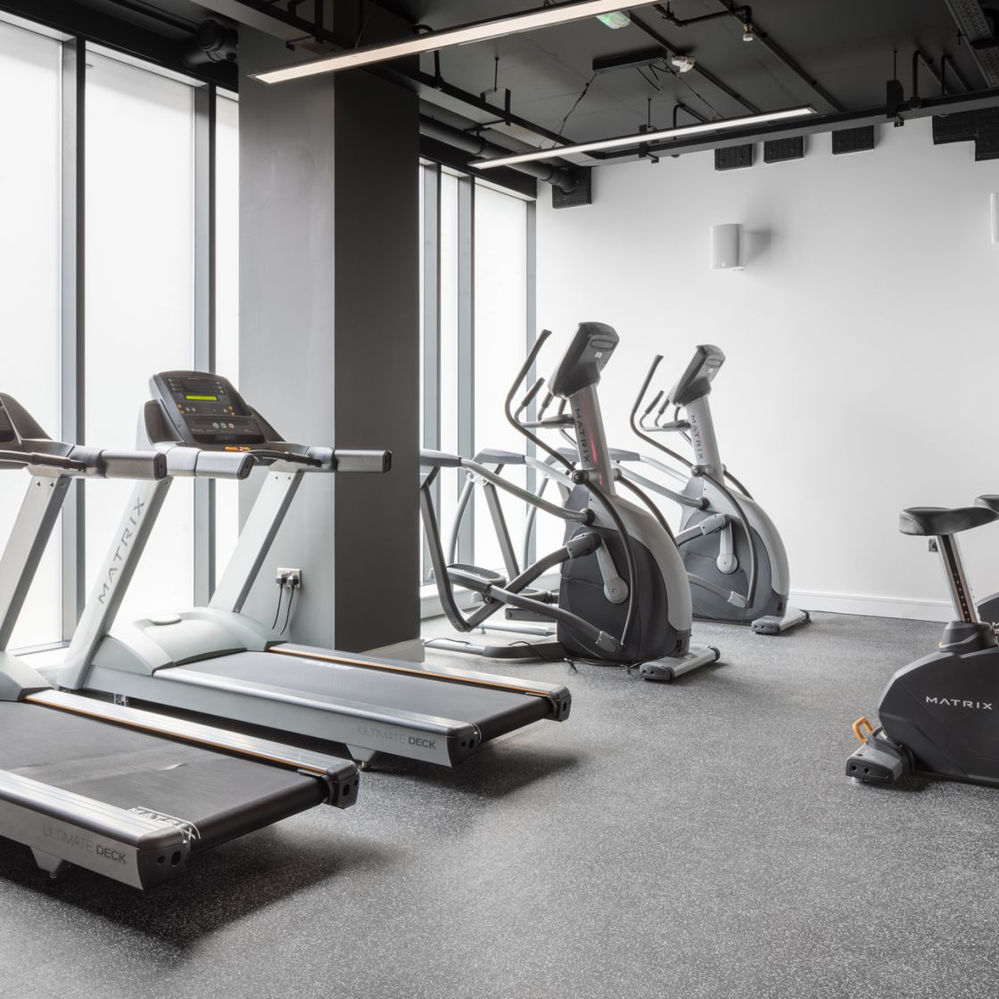 On-site gym with treadmills and crosstrainers at IconInc, The Ascent. Student Accommodation in Liverpool