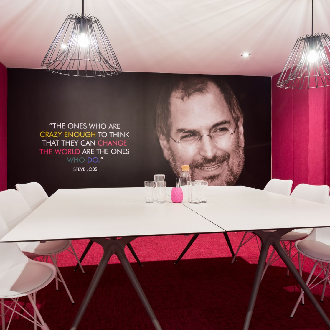 Pink Private Study Room with Large Desk and Seating at IconInc, The Glassworks. Student Accommodation in Leeds