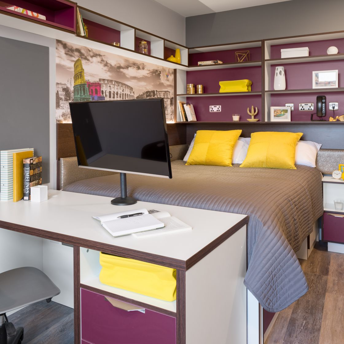 Elegance Student Apartment in Liverpool. Double Bed and Desk. IconInc, The Ascent