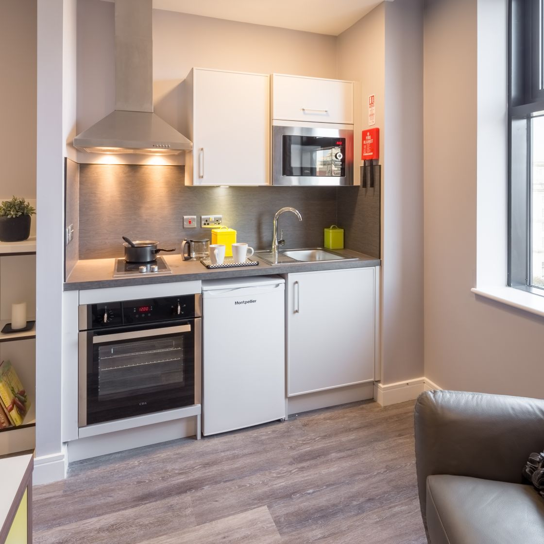 Smart Student Apartment in Liverpool. fully fitted kitchen. IconInc, The Ascent