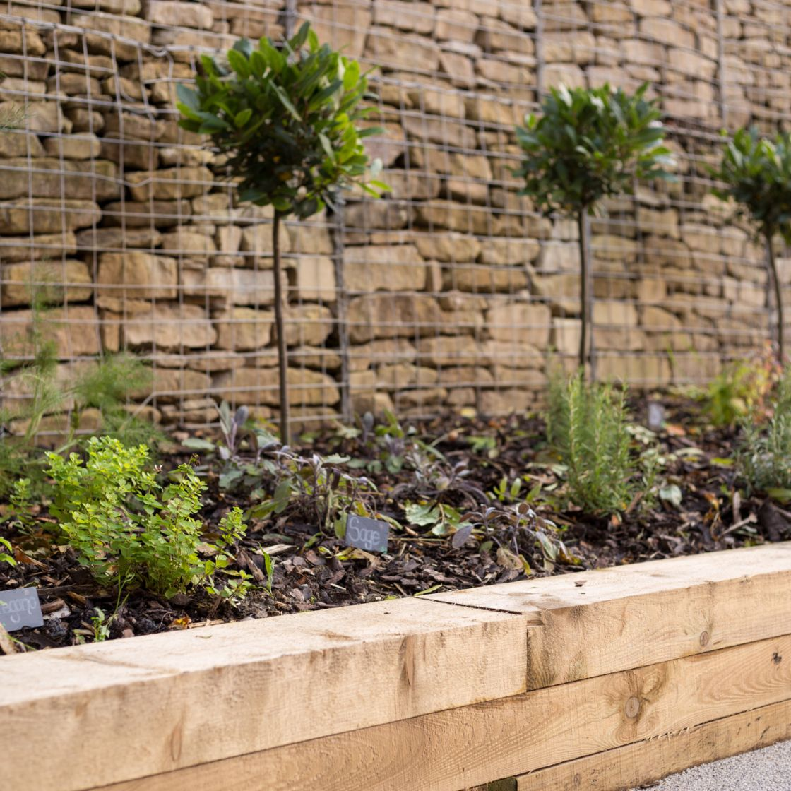 Outdoor herb garden at IconInc, The Glassworks. Student Accommodation in Leeds