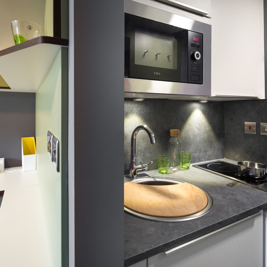 Neo Student Apartment Kitchen in Leeds. IconInc, The Glassworks.