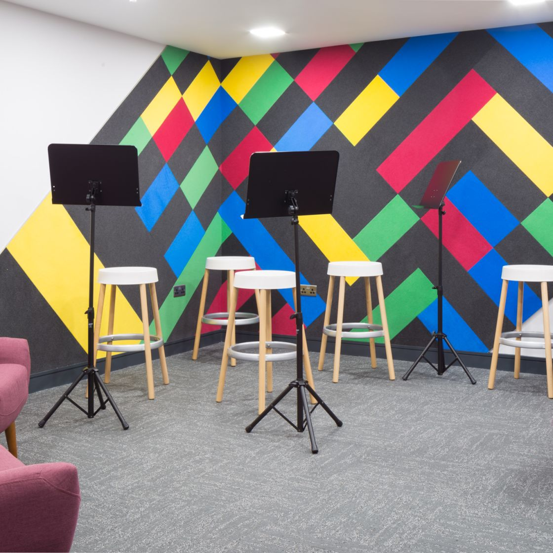 Music room at IconInc, The Ascent. Student Accommodation in Liverpool