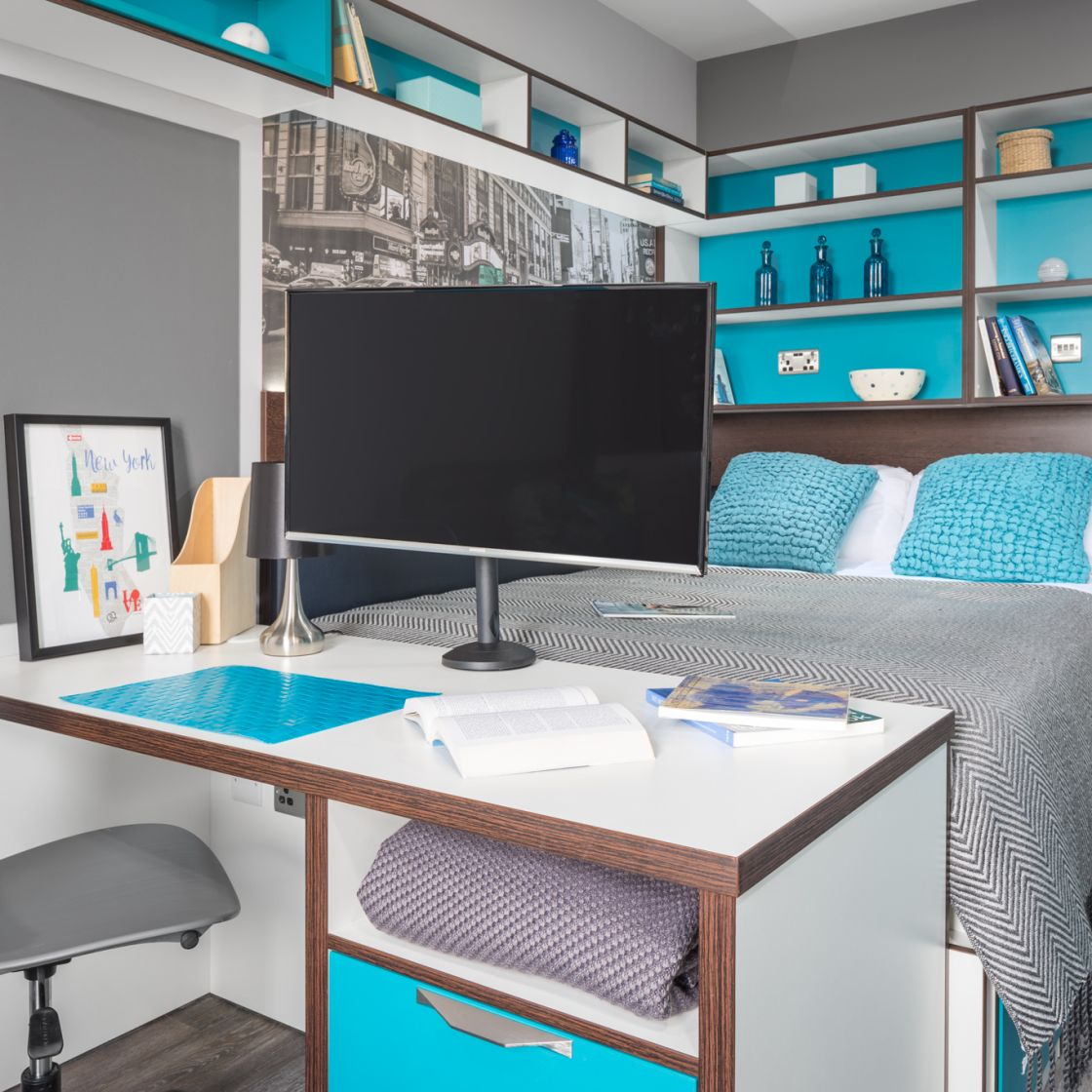 Smart Student Apartment in Liverpool. Double Bed and Desk. IconInc, The Ascent