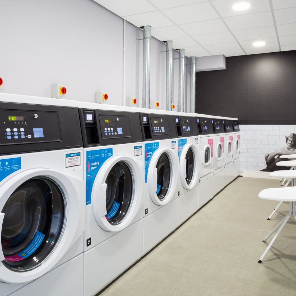 Communal Washing Machines and Drying Machines at IconInc, The Glassworks. Student Accommodation in Leeds