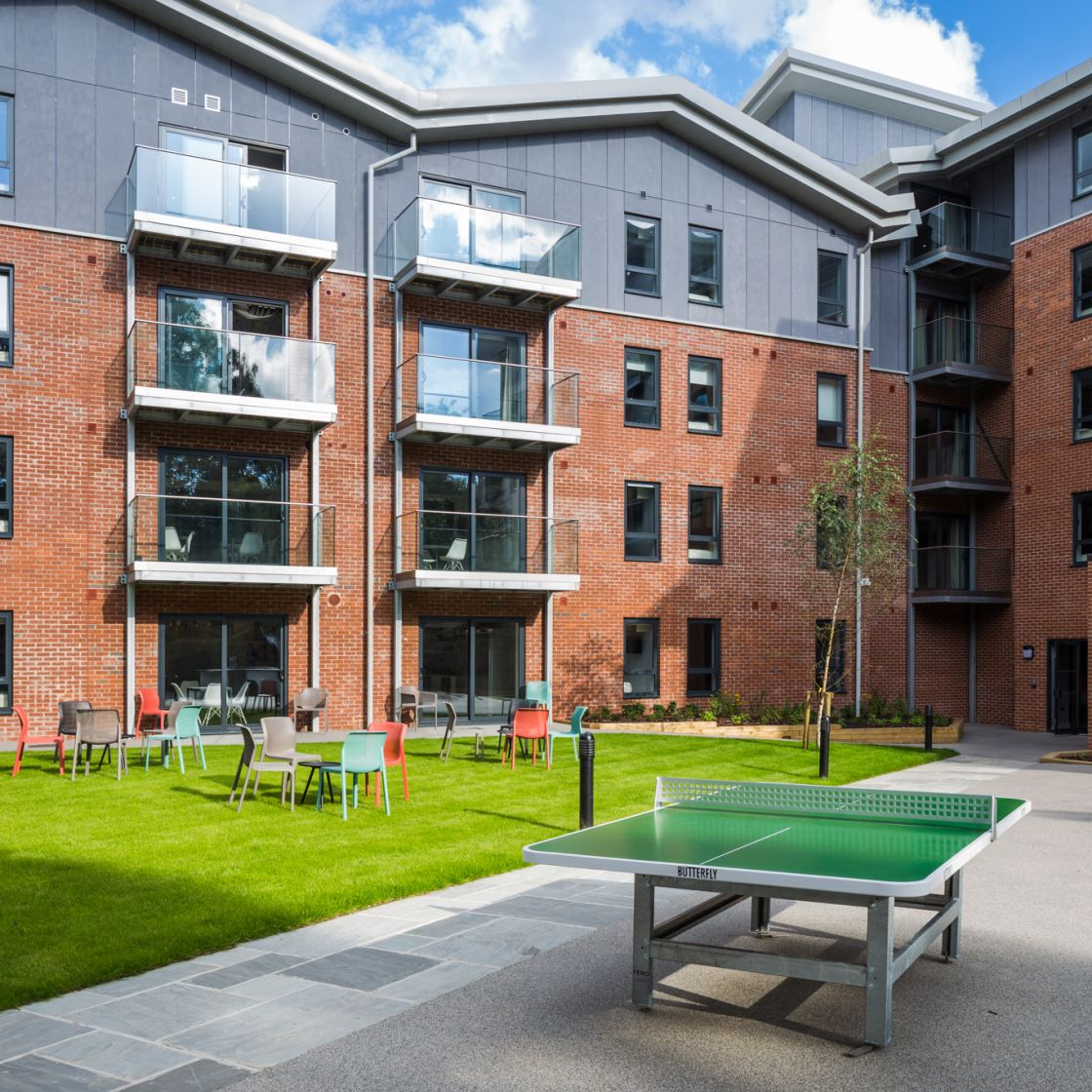 Spacious Garden with table tennis at IconInc, The Glassworks. Student Accommodation in Leeds