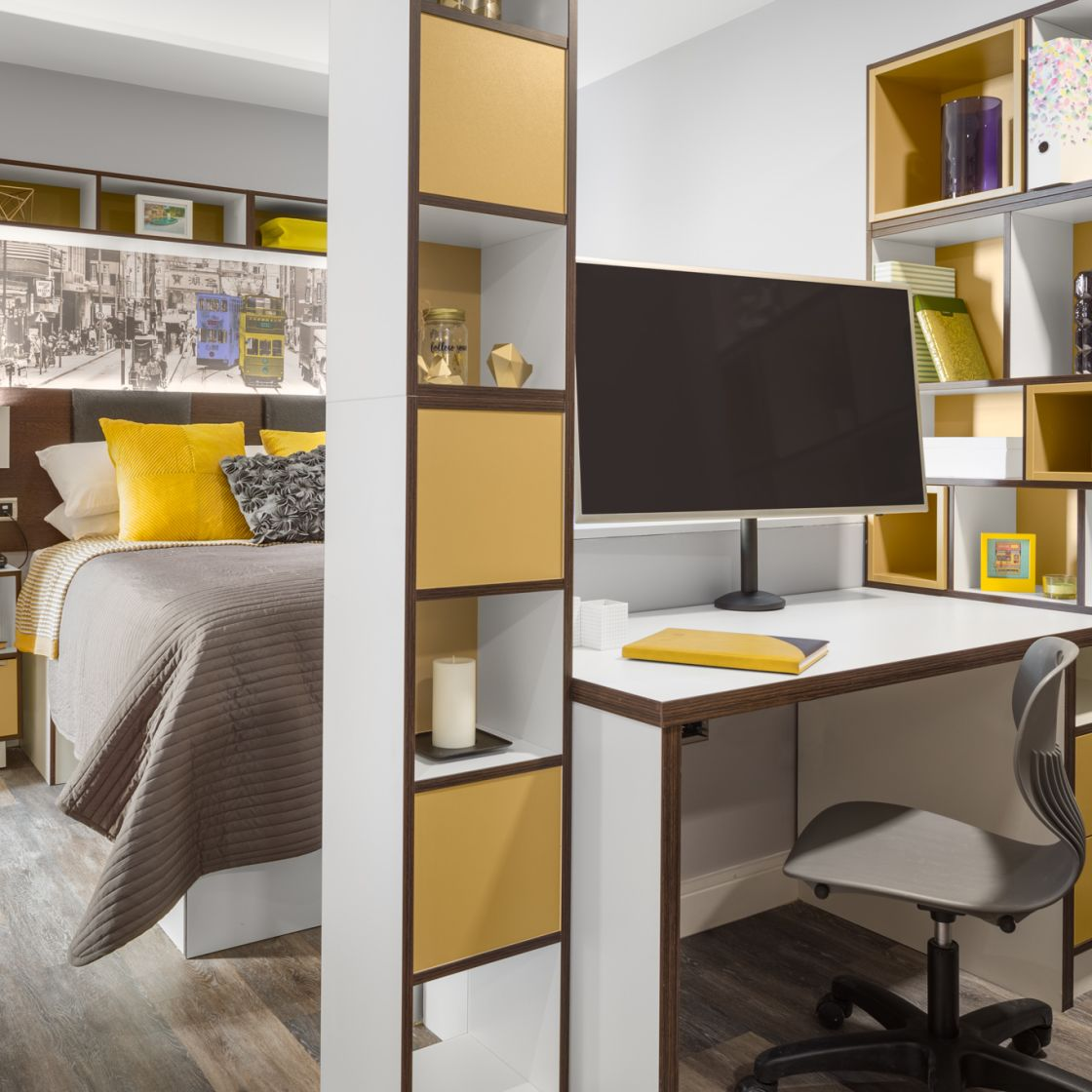 Grande Student Apartment in Liverpool. Double Bed, TV and Desk. IconInc, The Ascent