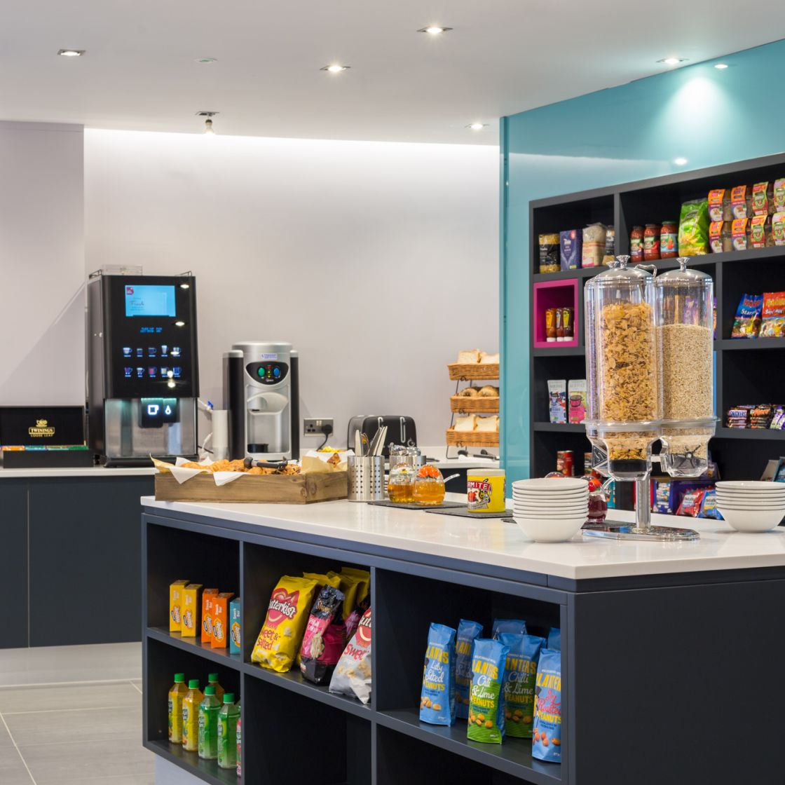 Grab and Go Breakfast area with coffee machine at IconInc, The Glassworks. Student Accommodation in Leeds