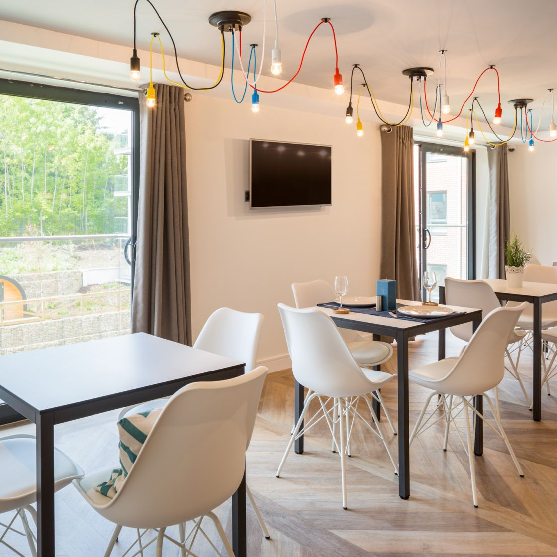 Mega Kitchen Dining Tables at IconInc, The Glassworks. Student Accommodation in Leeds