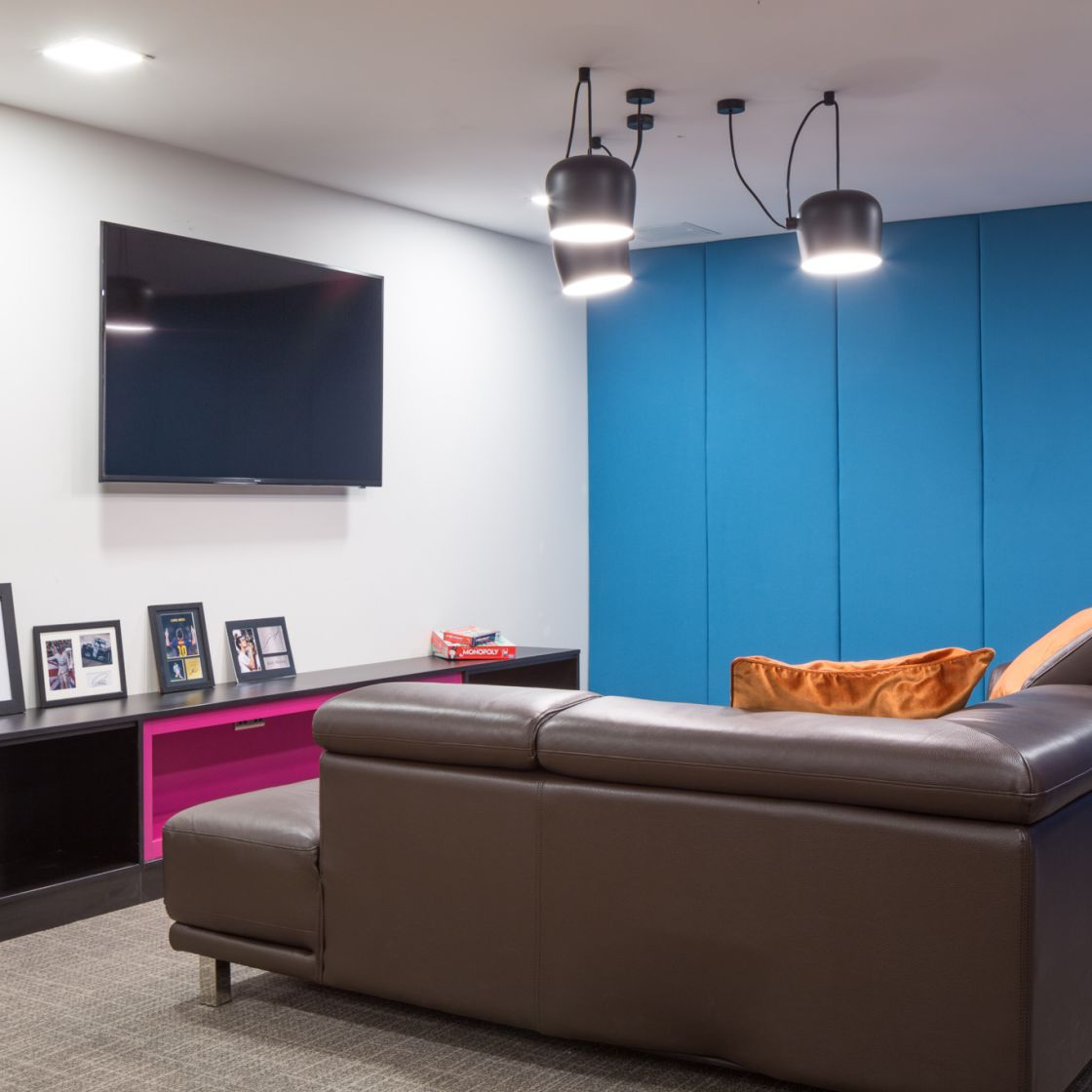 Lounge with large TV at IconInc, The Ascent. Student Accommodation in Liverpool