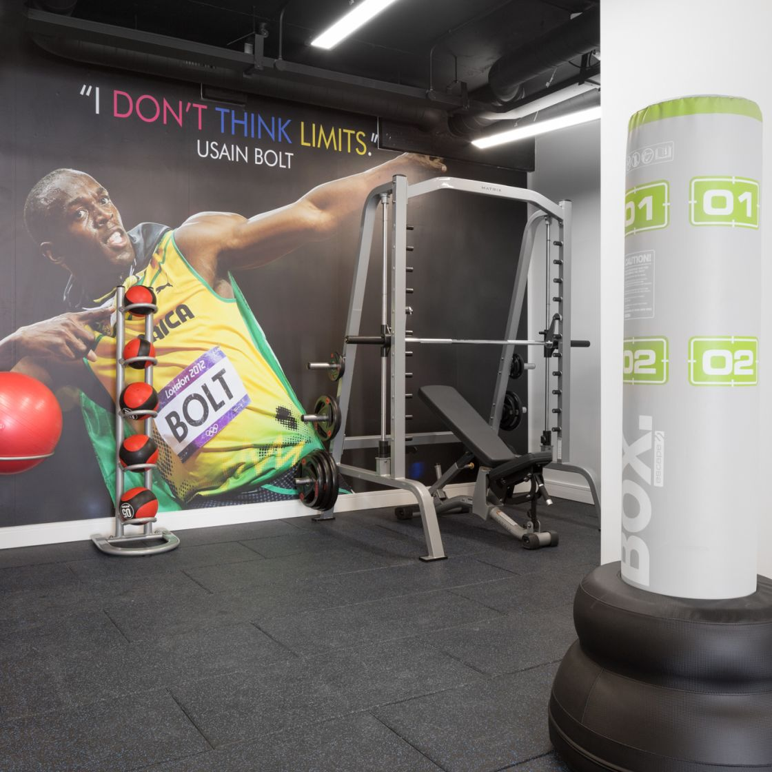On-site gym with weights and punching box at IconInc, The Ascent. Student Accommodation in Liverpool