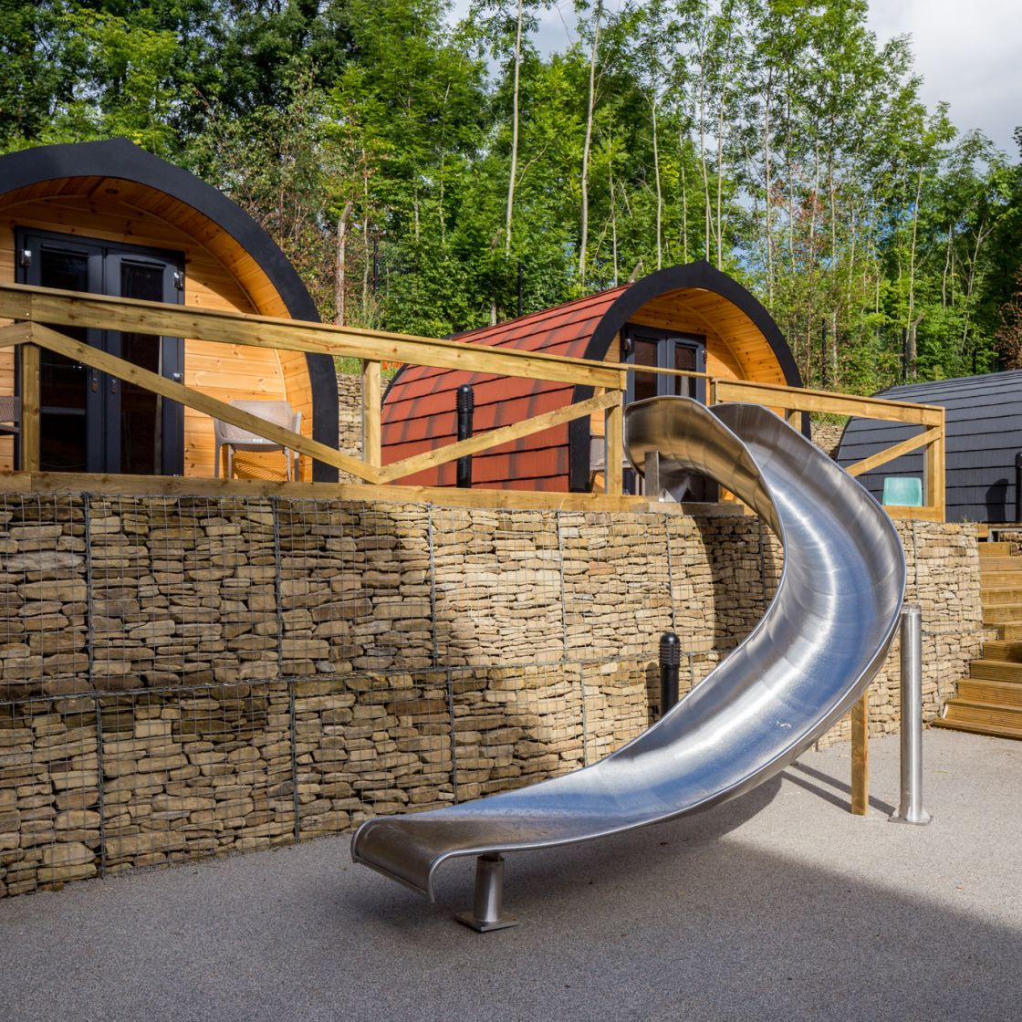 Outdoor Glamping Pods and Slide at IconInc, The Glassworks. Student Accommodation in Leeds