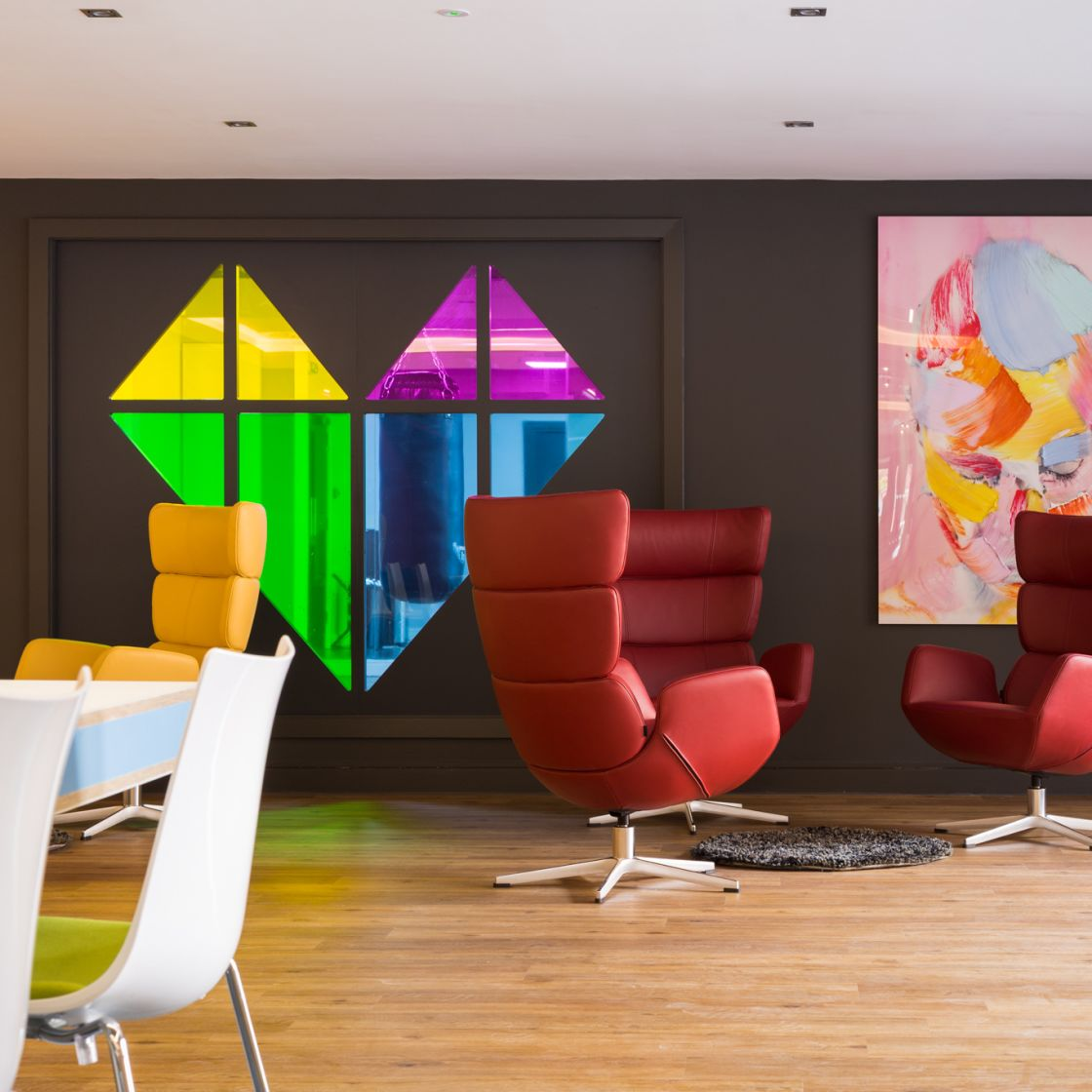 Seating and IconInc wall Decor at IconInc, The Glassworks. Student Accommodation in Leeds