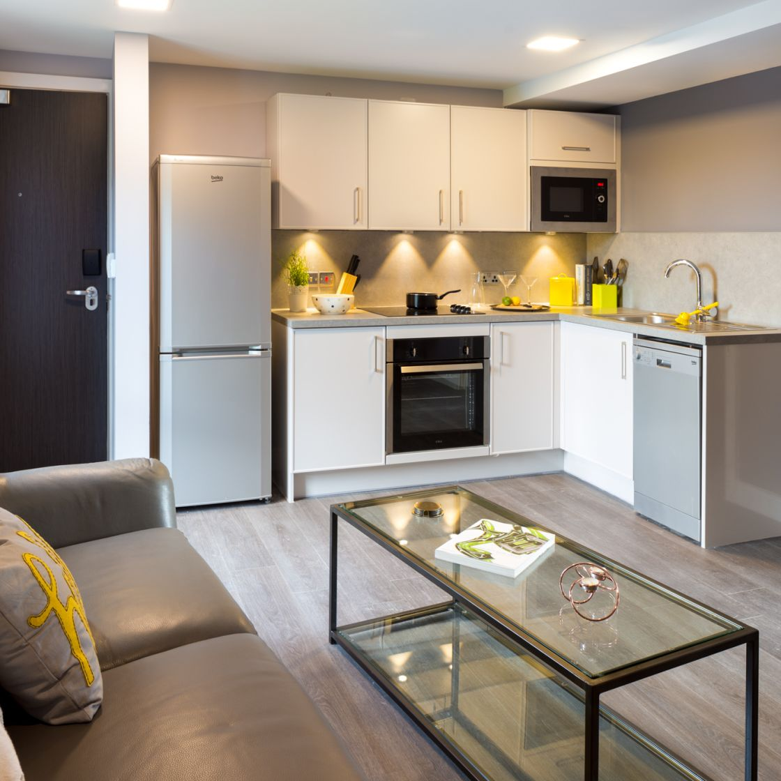 Grande Student Apartment in Leeds Kitchen, Sofa and Coffee Table. IconInc, The Glassworks