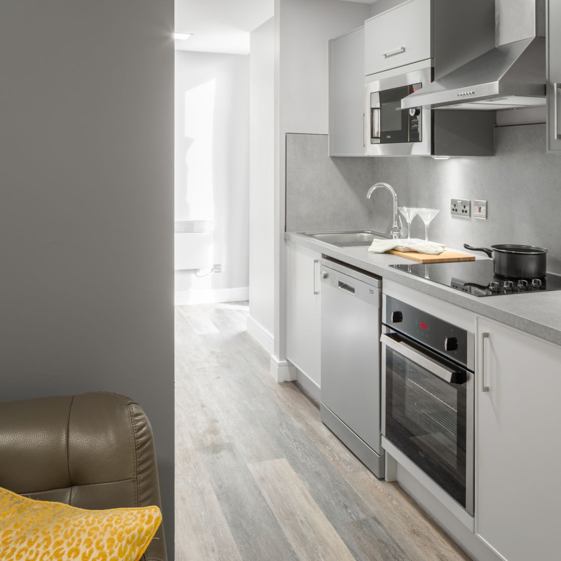 Grande Student Apartment in Liverpool. Fully fitted kitchen. IconInc, The Ascent