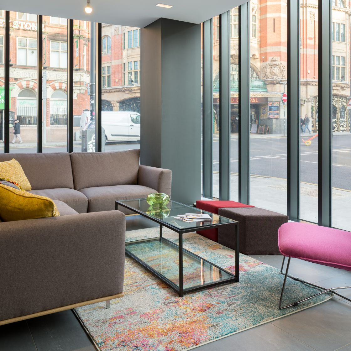 Reception Lounge with seating at IconInc, The Ascent. Student Accommodation in Liverpool