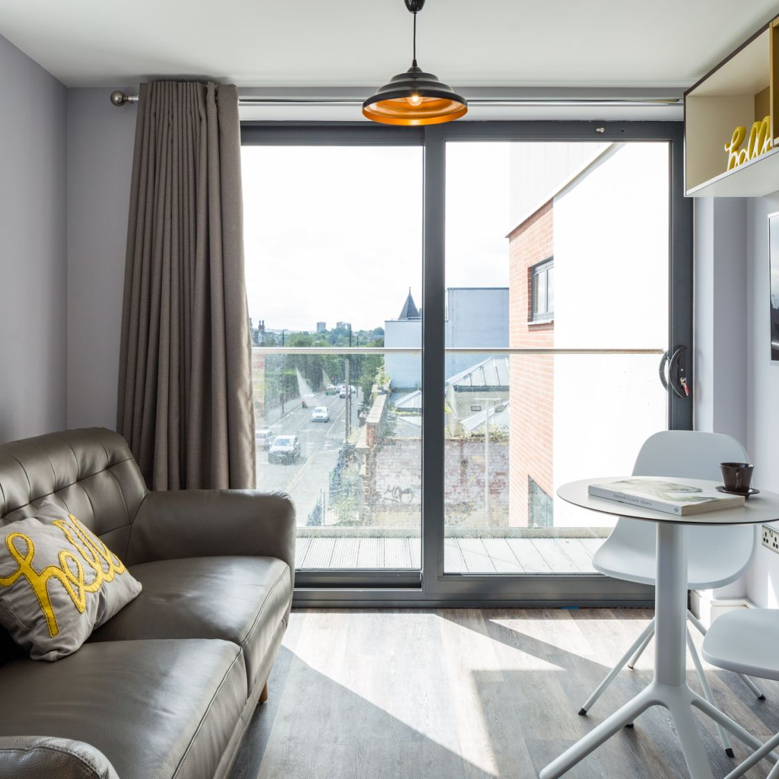 Grande Student Apartment in Leeds with Sofa and Balcony. IconInc, The Glassworks.