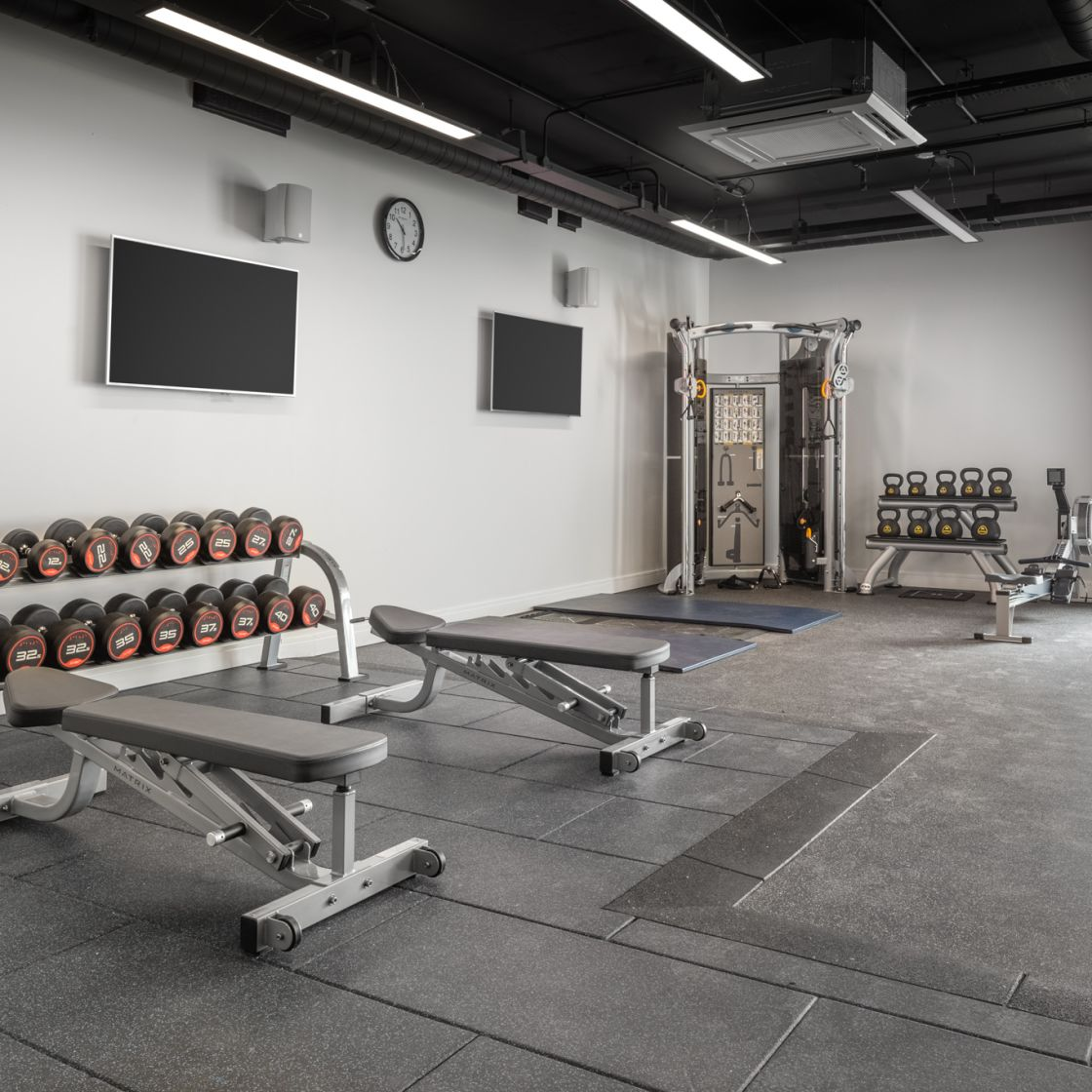 On-Site gym with free weights and kettle bells at IconInc, The Ascent. Student Accommodation in LIverpool