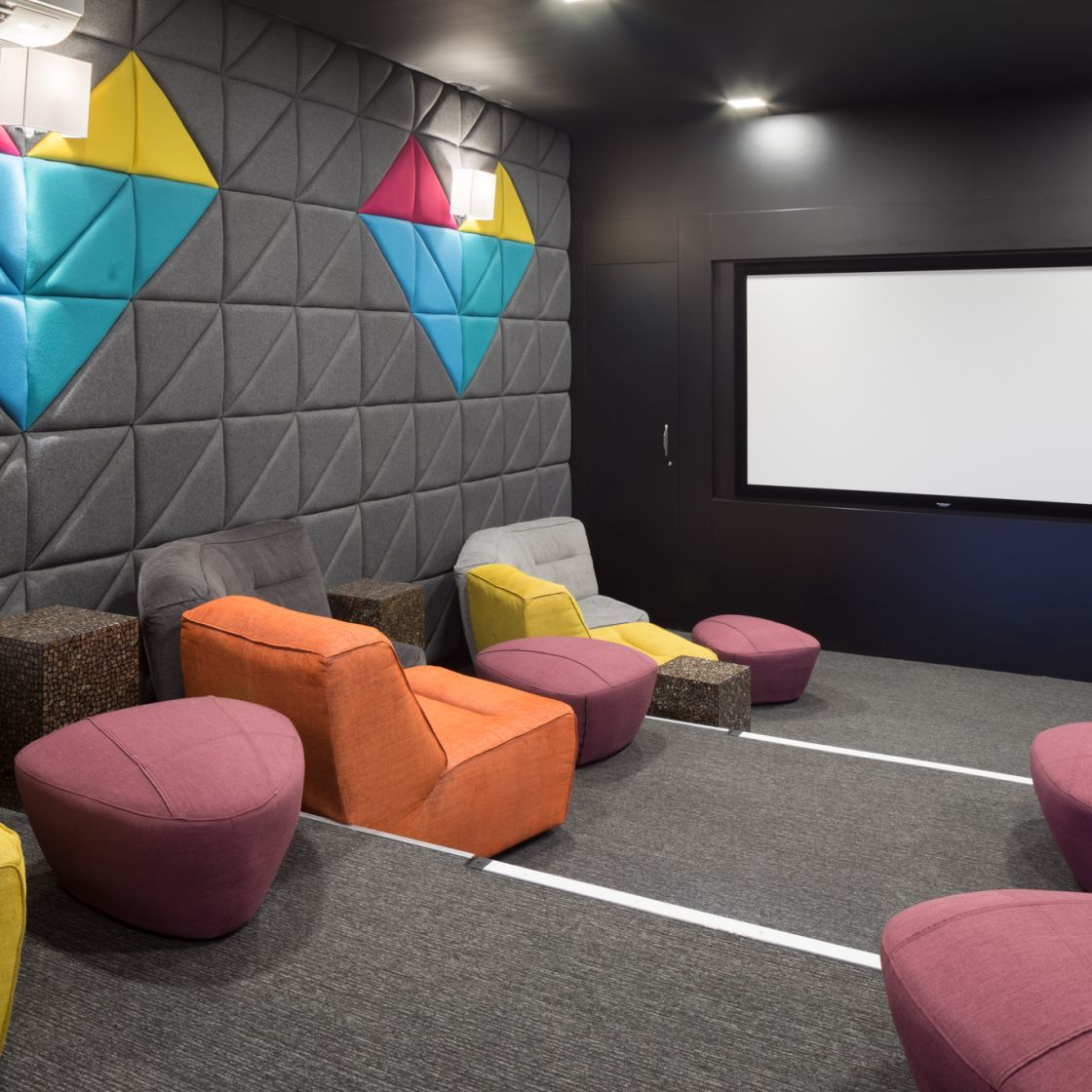 Cinema with large cinema screen at IconInc, The Ascent. Student Accommodation in Liverpool