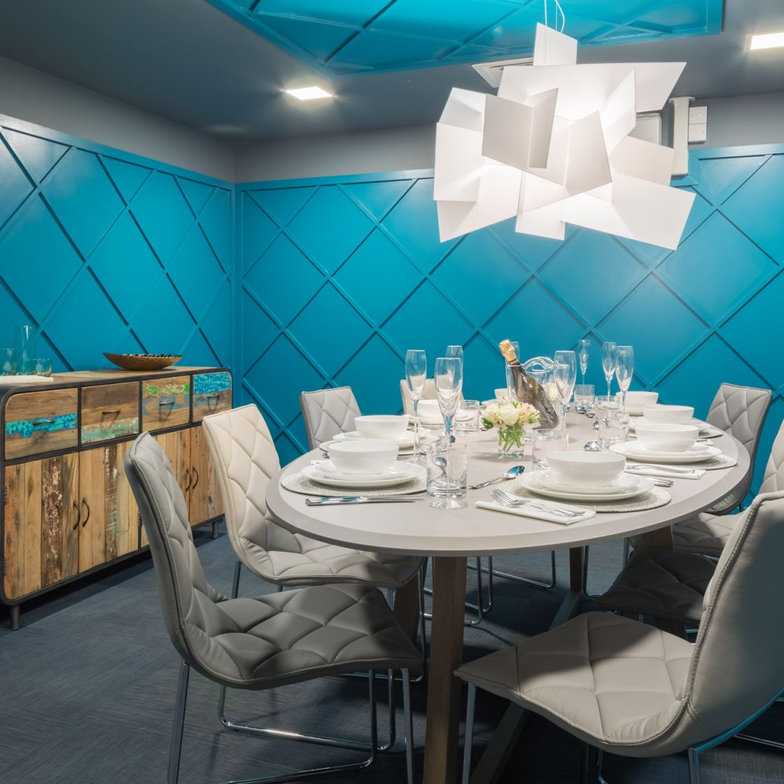 Blue Private Dining Room at IconInc, The Ascent. Student Accommodation in Liverpool