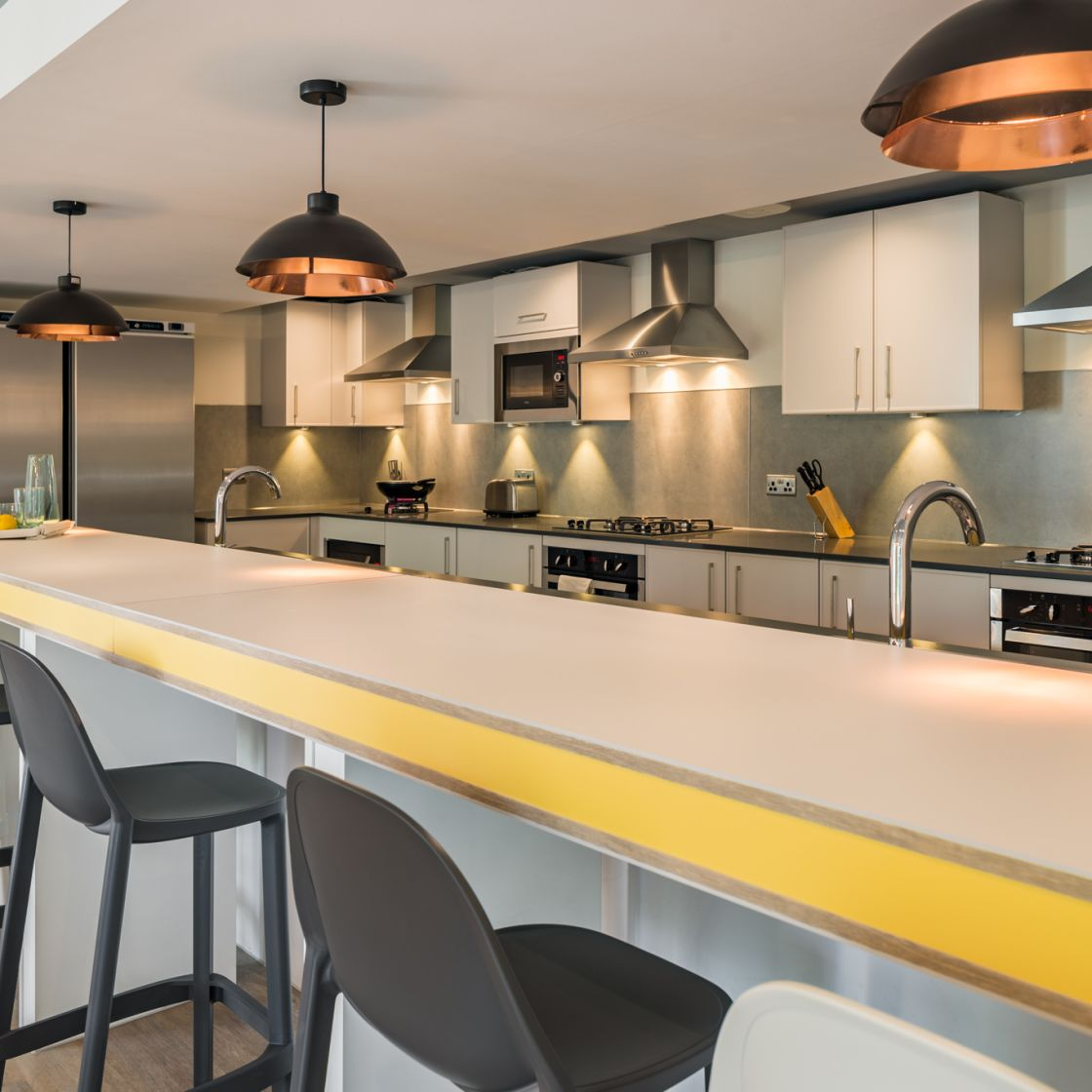 Mega Kitchen with breakfast at IconInc, The Glassworks. Student Accommodation in Leeds