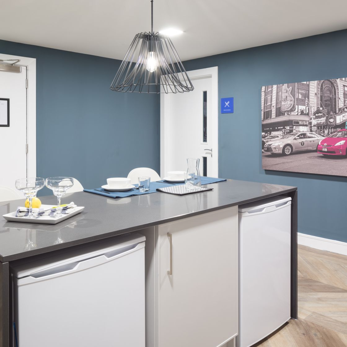 Mega Kitchen with large island. IconInc, The Ascent. Student Accommodation in Liverpool