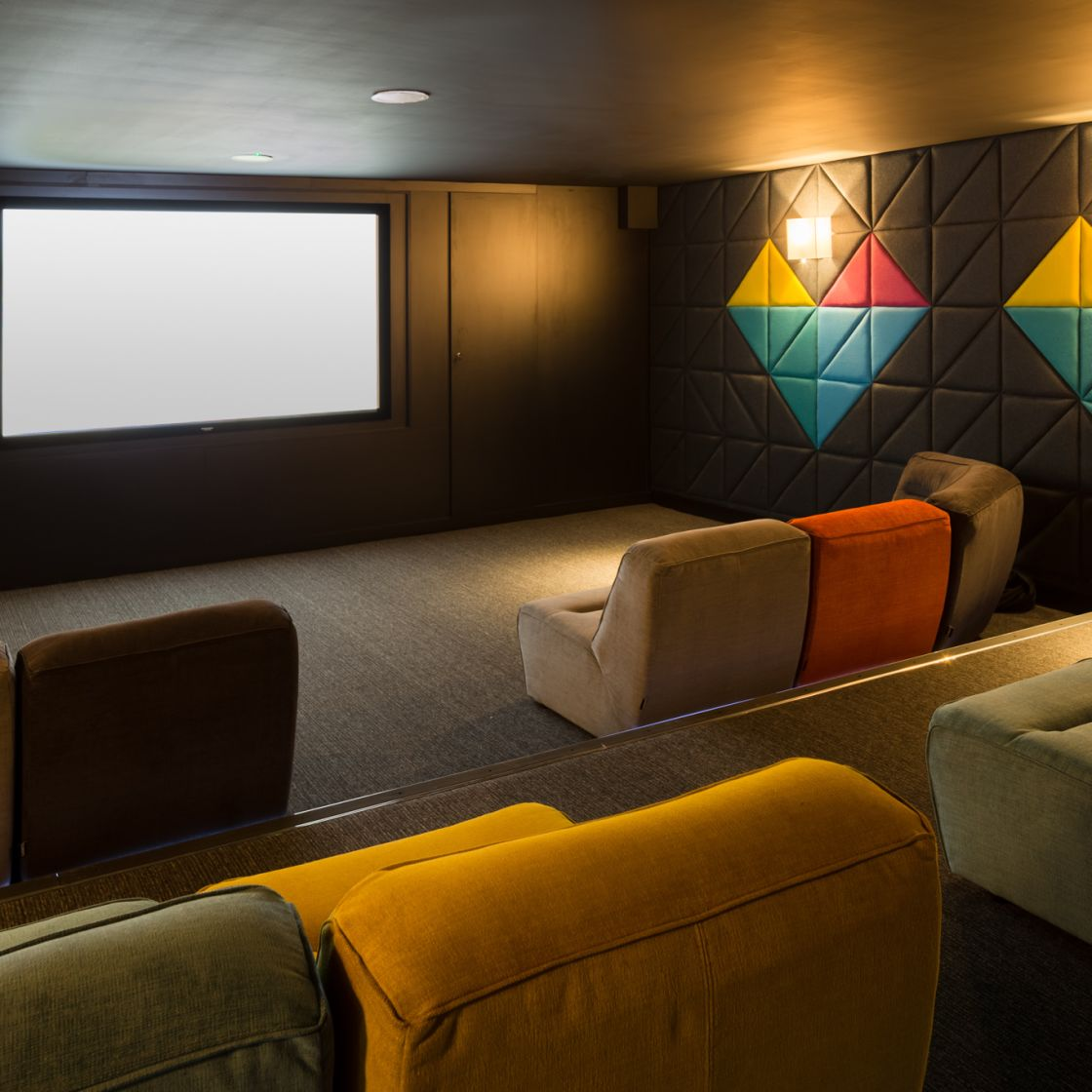 Cinema room with large cinema screen at IconInc, The Glassworks. Student Accommodation in Leeds