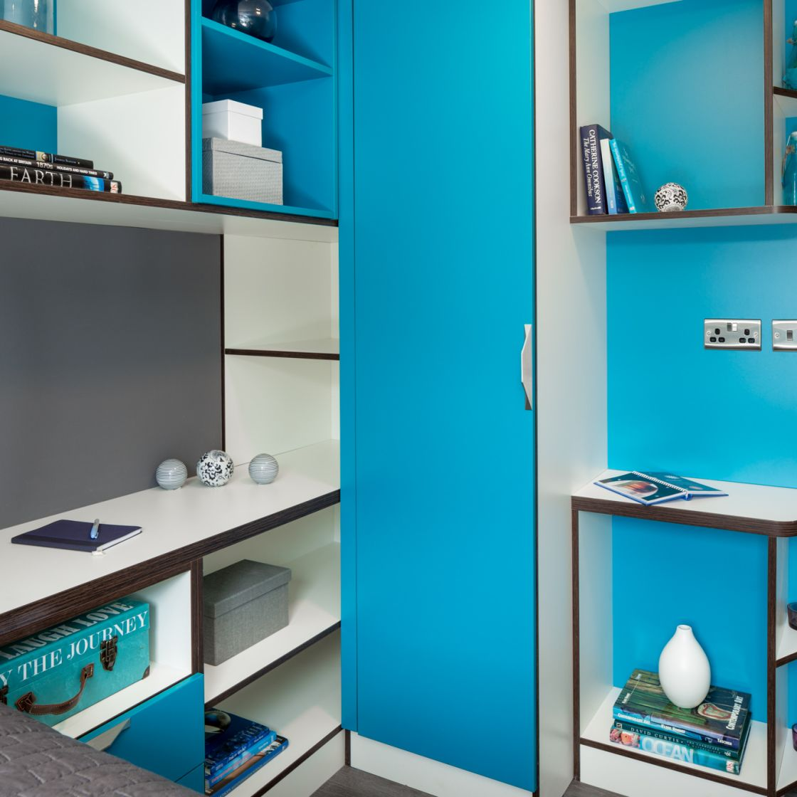 Smart Student Apartment in Leeds with Desk and wardrobe at IconInc, The Glassworks. Student Accommodation in Leeds