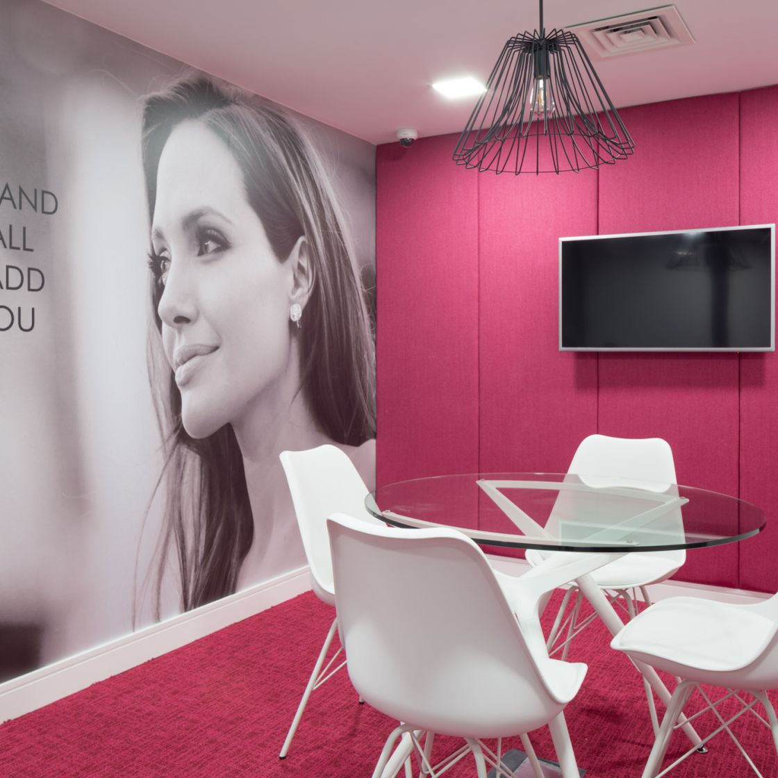 Pink private study room at IconInc, The Ascent. Student Accommodation in Liverpool