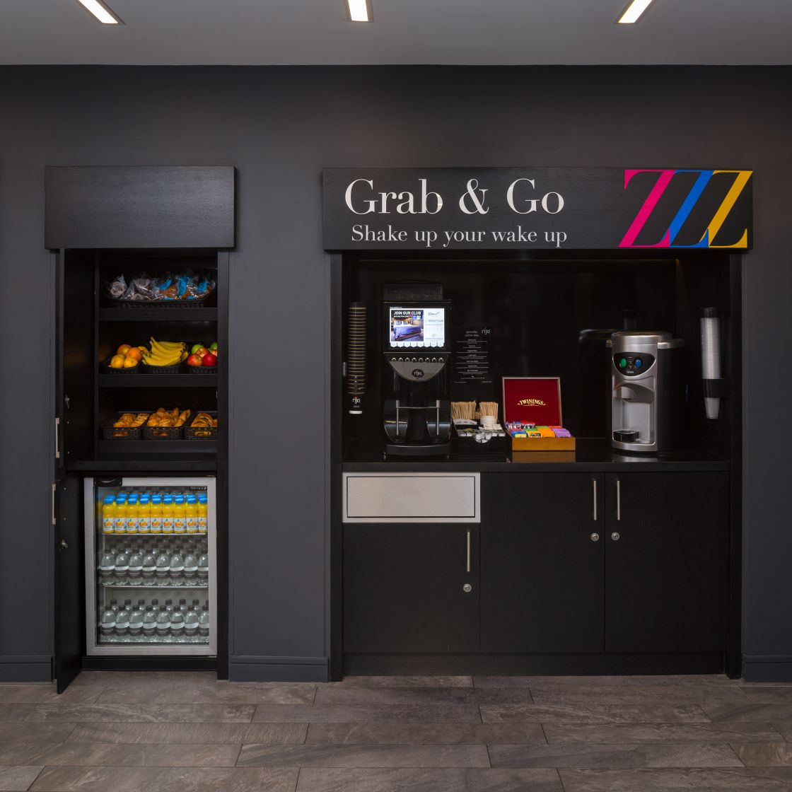 Grab & Go Station with fruit, pastries and Coffee Machine. Student Accommodation in Chester