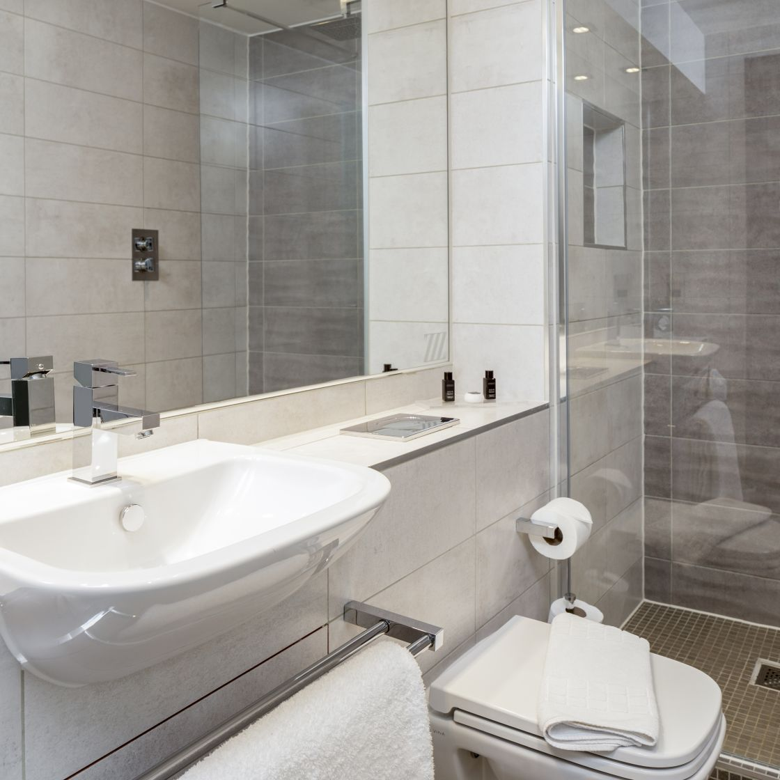 En-suite bathroom with rainfall shower. Student Accommodation in Chester
