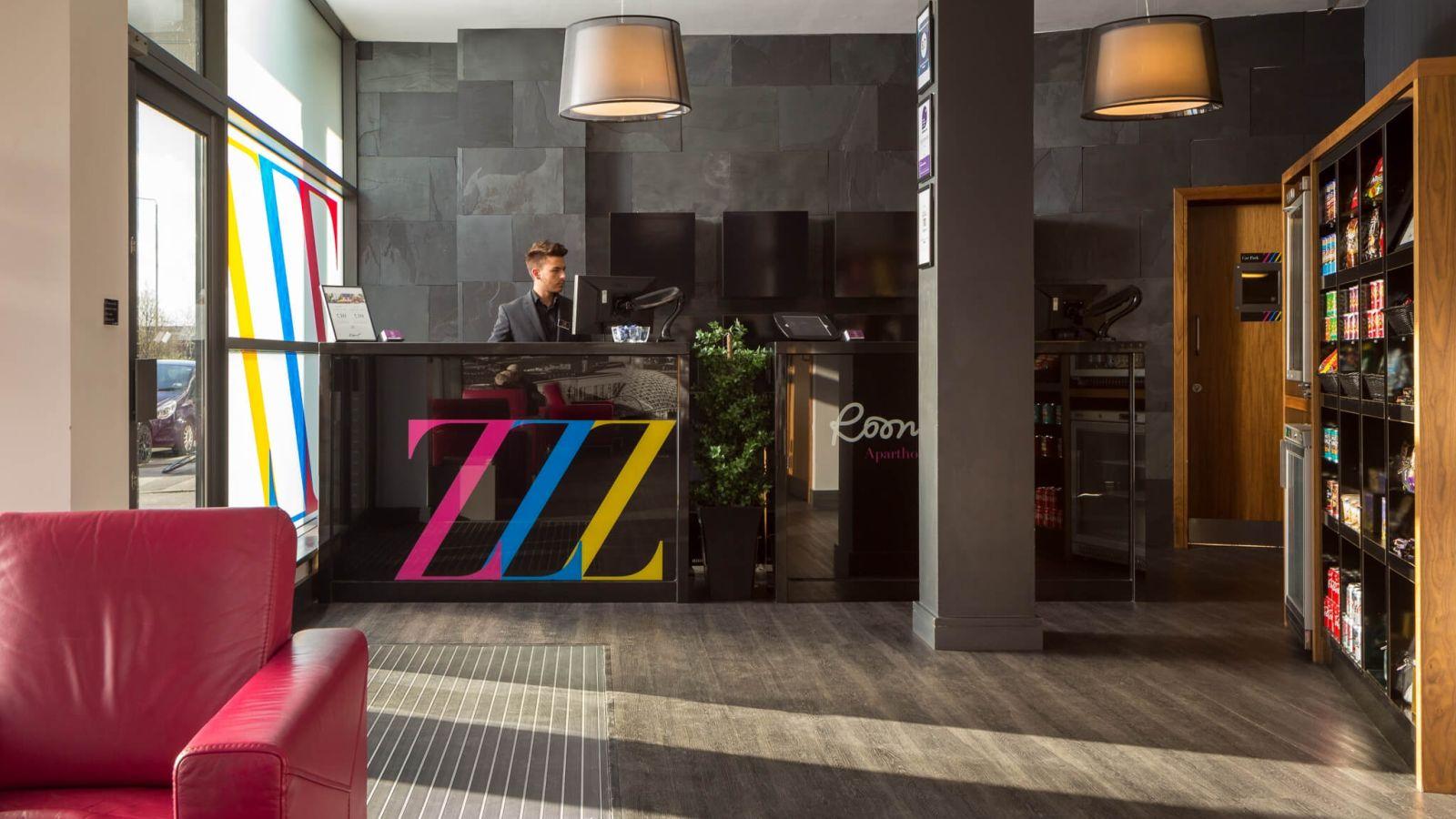 IconInc @ Roomzzz Leeds City West Reception Desk