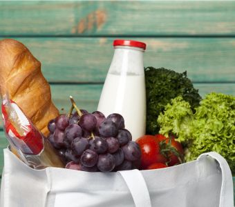 Welcome hamper with fresh milk and groceries.