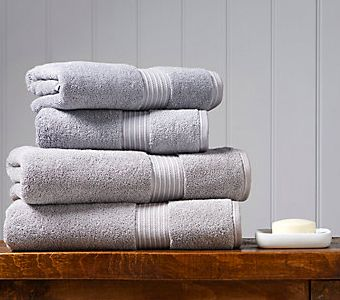 Stack of fluffy white towels