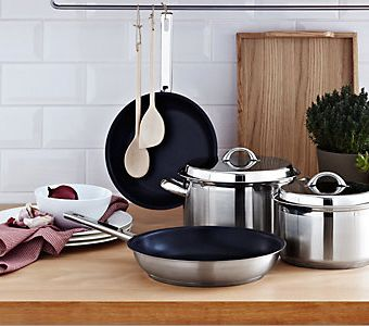 Complete cooking pack with pans, utensils and essential appliances.