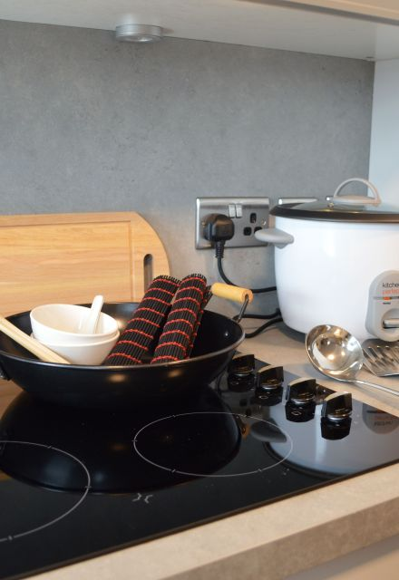 Fusion cooking kit with wok, chop sticks, utensils and rice cooker.