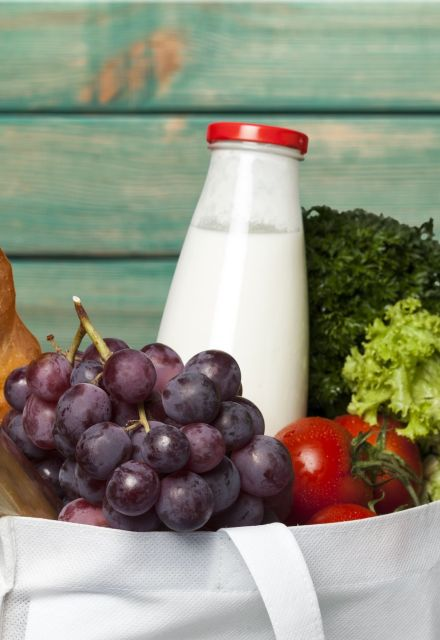 Welcome Hampers with fruit, vegetables and fresh milk. IconInc, Triangle