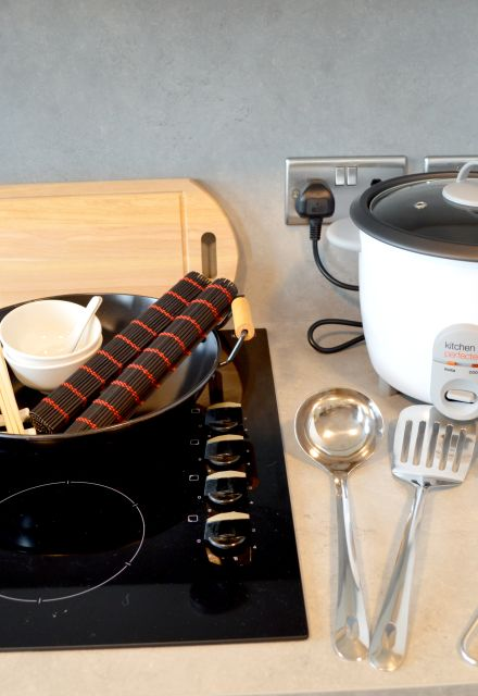 Fusion cooking kits with Wok, Chopsticks, Utensils and Rice Cooker. IconInc @ Roomzzz