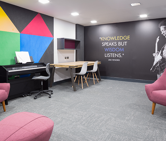Music Room with piano at IconInc, The Ascent. Student Accommodation in Liverpool