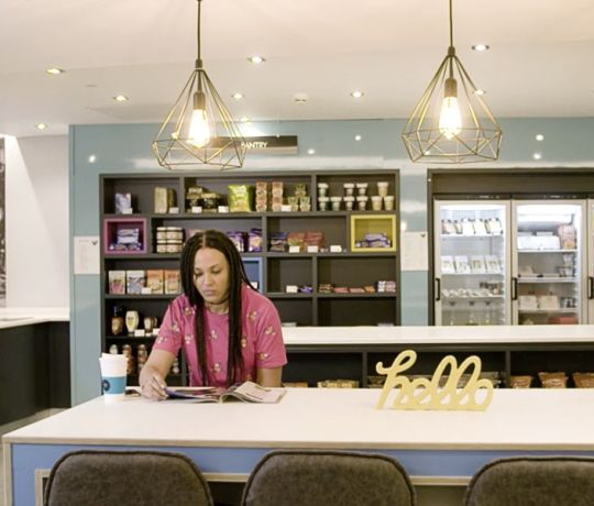 Student in The Pantry and IconInc, The Glassworks. Student Accommodation in Leeds