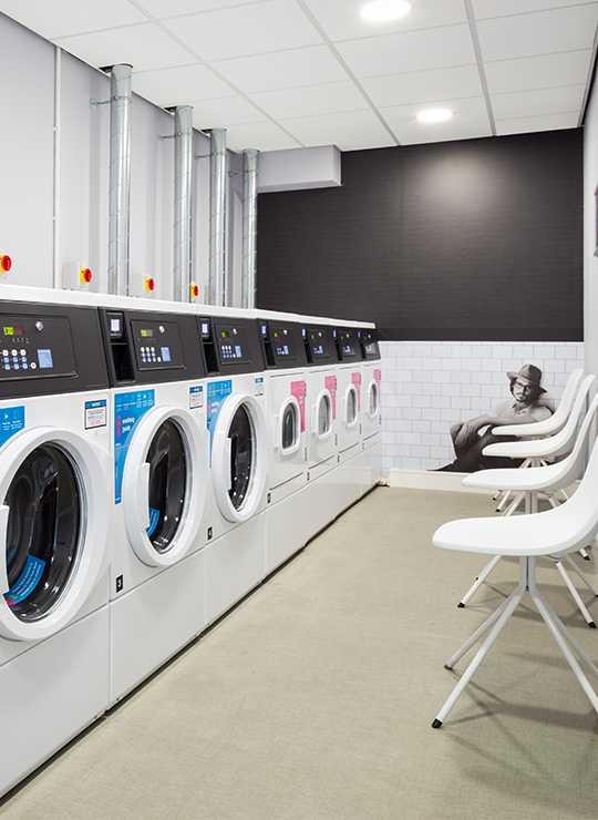 Washing Machines, Drying Machines and Seating at IconInc, The Glassworks. Student Accommodation in Leeds