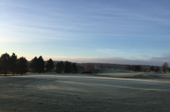 Leeds Golf Centre's Wike Ridge course covered in frost.