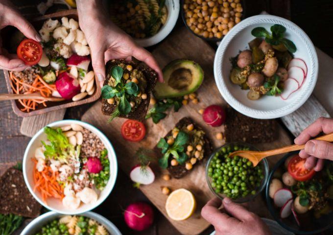 A selection of vegan food