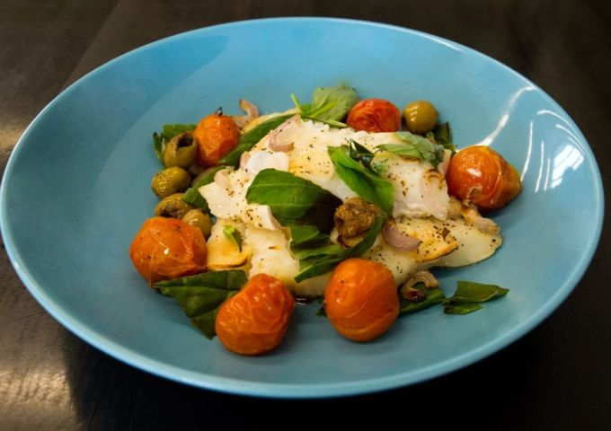 Baked cod with tomato recipe, created by Chris Hale exclusively for IconInc.