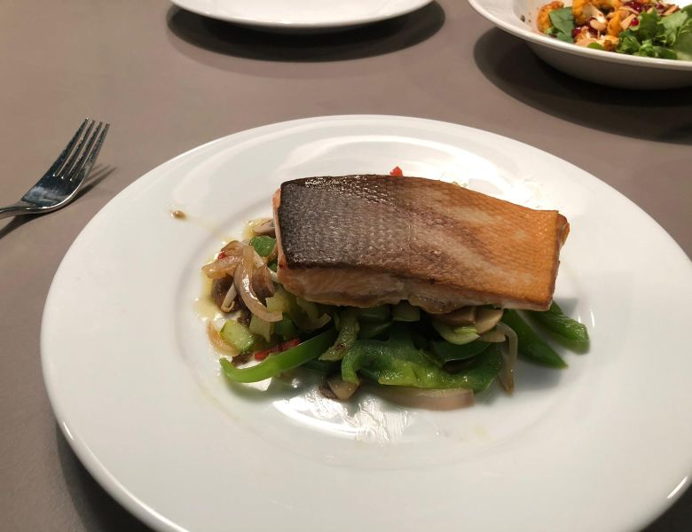 A healthy salmon main meal created by IconInc students, with the help of Chris Hale.