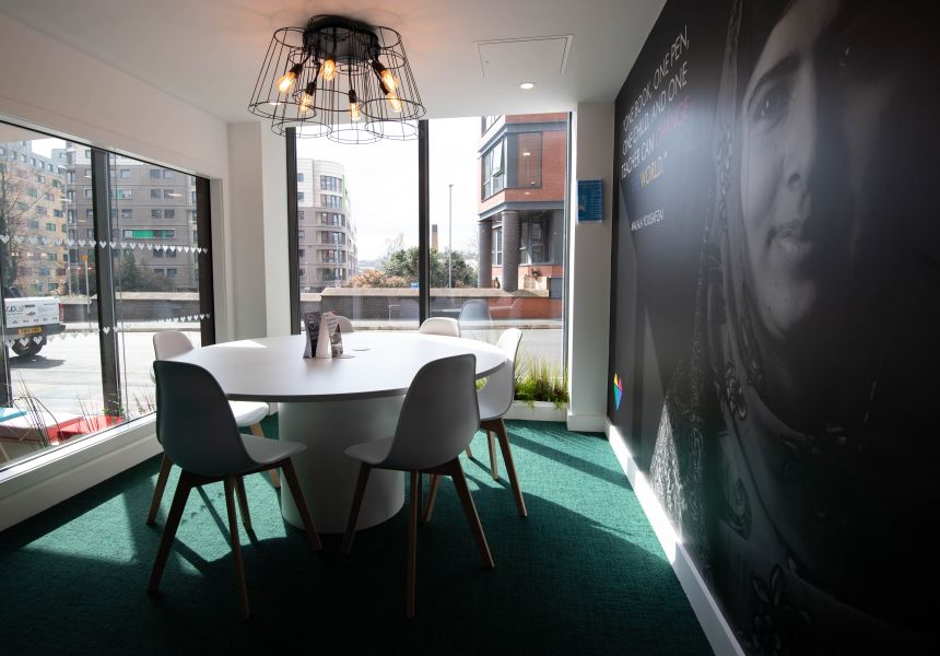 Private Study Roomzzz with large table, chairs and TV. IconInc, The Edge. Student Accommodation in Leeds